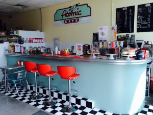 The Atomic Café, located in the indoor market in Newton Abbot town centre.