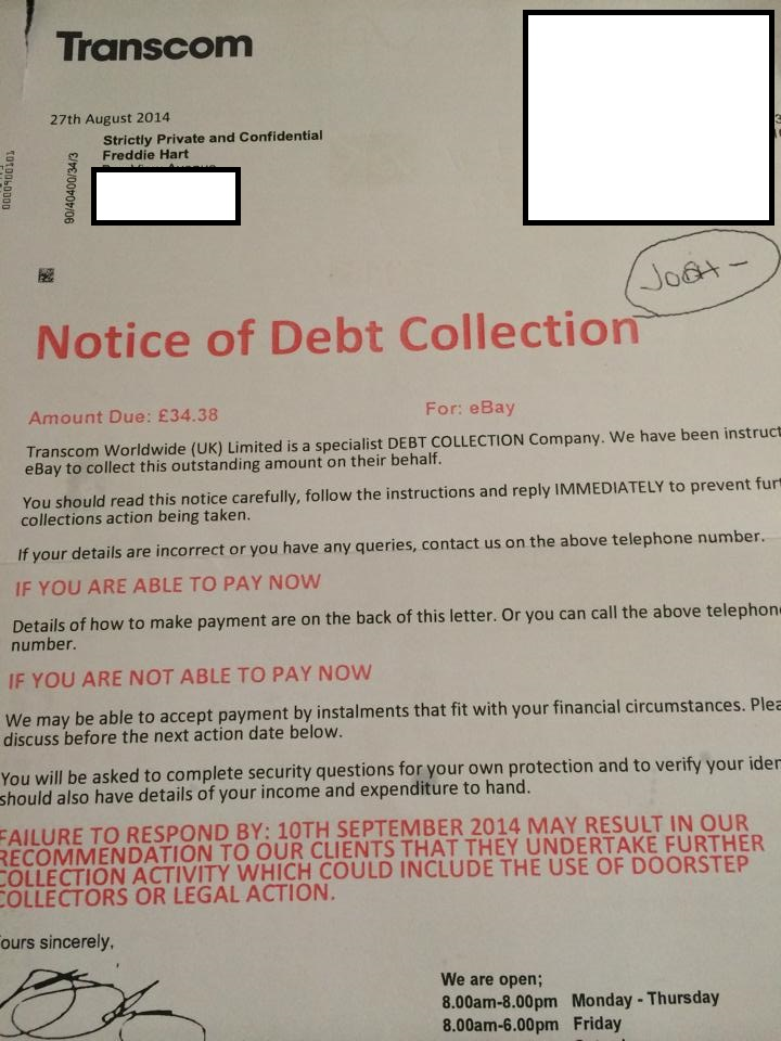 Letter claims Freddie owes money