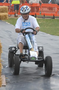 Top fundraiser and Patient Transport Crew Member, David Dunn, at the wheel