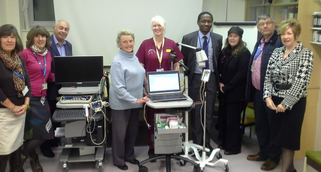 L-R Julia Hearne, Lynne Hearne, Michael Hookings, Patricia Roberts (all League of Friends) with Lesley Chandra, Dr Ibrahim Imam, and Laura Carruthers (Torbay Hospital staff), David Rogers and Lynne Hookings (League of Friends)