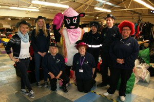 Barbara the Sheep and the team at the Newton Abbot Distribution Centre