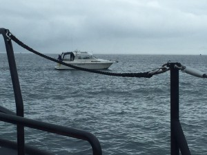 The 27' motor cruiser in difficulty in the Exe estuary. Photo: Exmouth RNLI