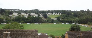 Travellers on Clennon Valley playing fields.