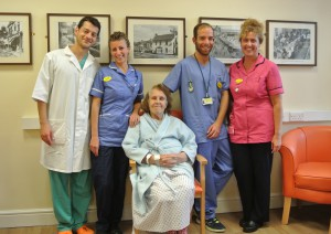 Left to right – Daniele Fonte, Vera Duse, patient Lily Hughes, Joshua Pajuelo and Tracey Collins