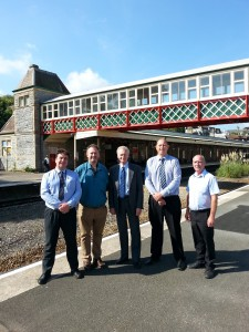 (Left to right) Simon Gyde, Asset Manager for the Western Route, Network Rail, • Tony Garratt, Senior Heritage & Design Officer, Torbay Council, • Torbay Council Mayor, Cllr Gordon Oliver, • Clive Whitfield, Project Manager, Network Rail, • Steve Brimacombe, Sisk Rail
