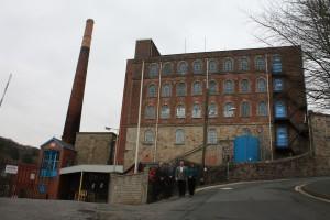 Jon Samuels, Cllr Mike Saltern, Mark Edworthy, Cllr Karen Pringle in front of the mill.