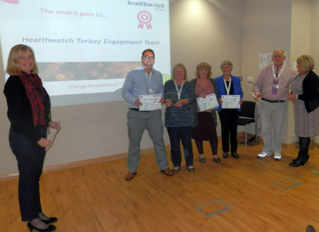 Torbay MP Dr Sarah Wollaston with volunteers David Young, Eliza Lawler, Carol Kendall, Bridget Wernham, David Hudson & Healthwatch Torbay CEO Pat Harris