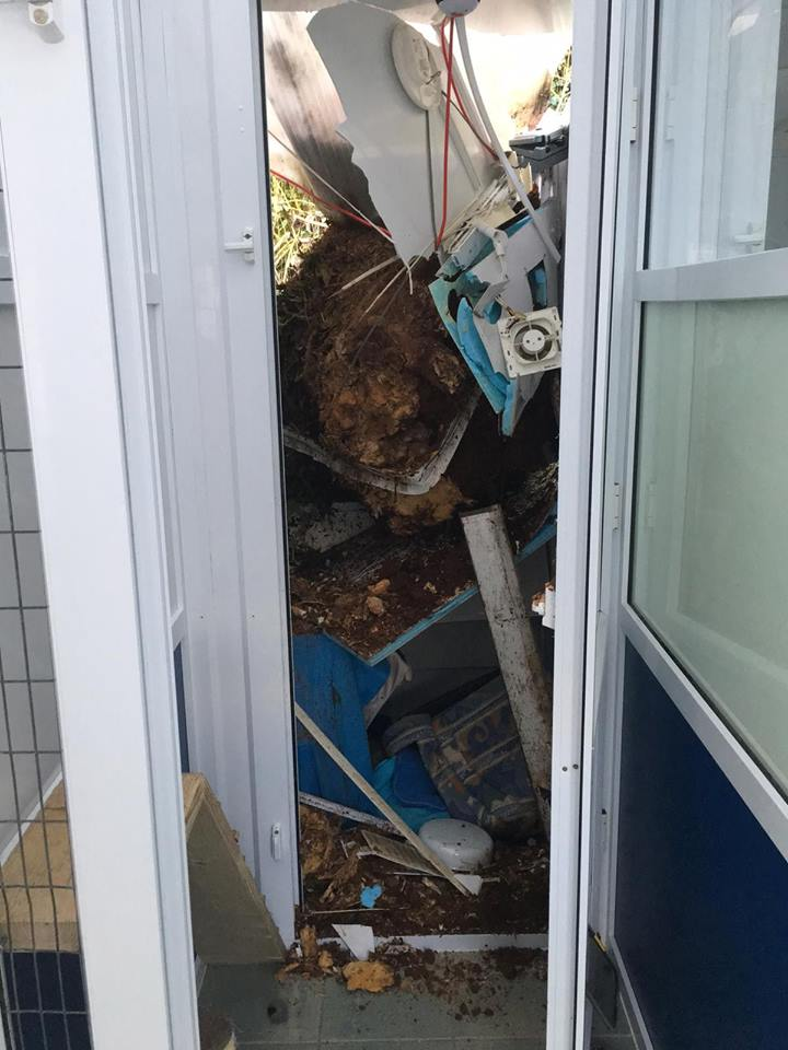 The damaged cattery