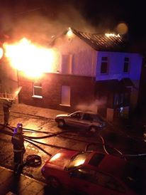 Firefighters fighting the blaze