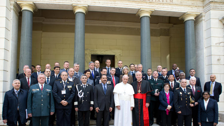 Picture: Chief Constable Shaun Sawyer is pictured on the back row outside the Vatican with Pope Francis and other police leaders from around the world