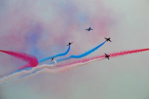 The Red Arrows at a previous display in Torbay