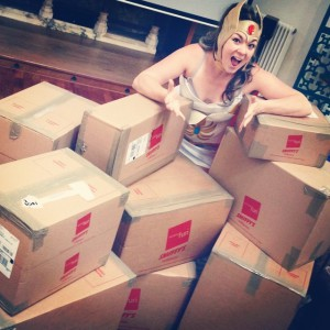 Eve receiving a delivery of Smiffy costumes.