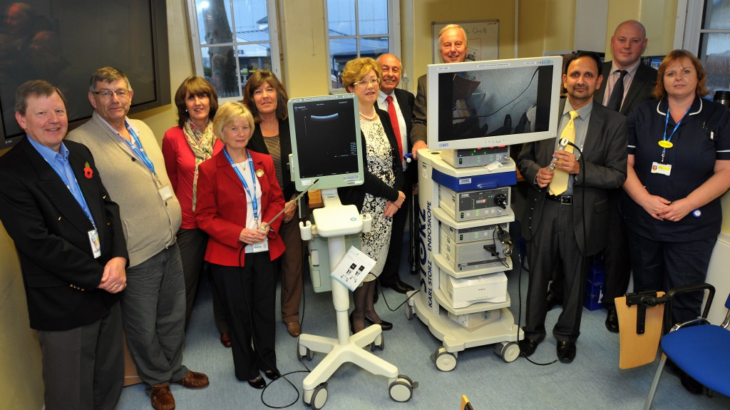 Members of the League of Friends, including Chair David Rogers (second from left) conduct the official handover of the equipment to Torbay Hospital staff; Mr Gandrapu Srinivas and Mr Stuart Andrews (both Consultant Upper GI Surgeons) and Maxine Chaplen (Laparoscopic Nurse Practitioner).