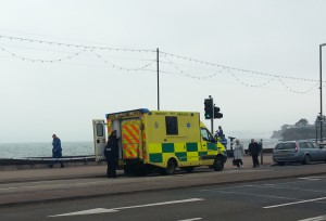 The man was taken to hospital by ambulance