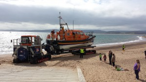 All-weather lifeboat Shannon class R and J Welburn launches on Exmouth Beach Photo Credit: Exmouth RNLI