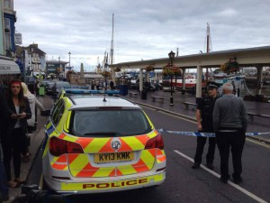A police cordon was set up around the harbour