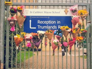 Floral tributes have been left at the school