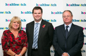 Healthwatch Torbay CEO Pat Harris; Kevin Foster, MP for Torbay; and Dr Kevin Dixon, Healthwatch Torbay Chair at the parliamentary reception in Westminster