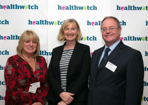 Healthwatch Torbay CEO Pat Harris; Dr Sarah Wollaston, MP for Totnes; and Dr Kevin Dixon, Healthwatch Torbay Chair at the parliamentary reception in Westminster.