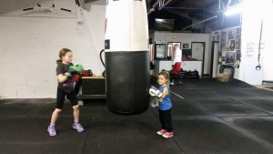Cerys and sister Elika at the gym