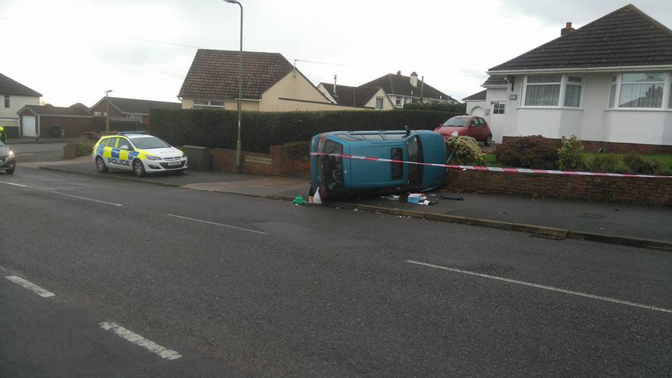 The car overturned