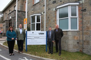 Cllr Karen Pringle, Mark Edworthy, Cllr Mike Saltern, Jon Samuels next to partner's sign.