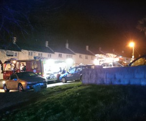 The scene last night in Oxenham Green