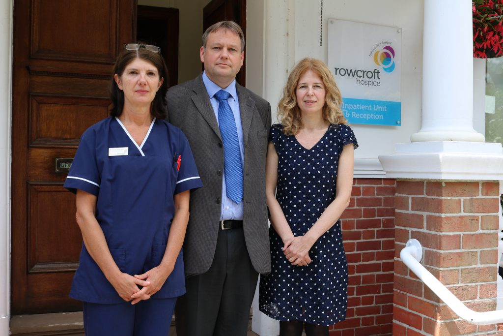 L-R Rowcroft's Inpatient Unit Manager Sue Harvey, Acting Chief Executive Officer and Finance and Commercial Director Jon Hill, and Clinical Director, Dr George Walker.