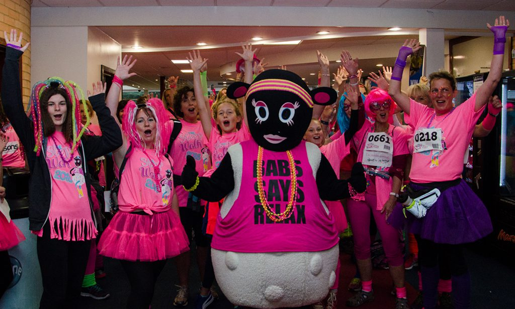 Ladies prepare to start The Sleep Walk 2016 at Torbay Leisure Centre