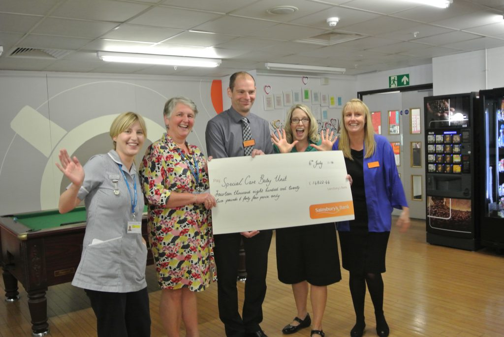 L-R student nurse Rosie Findlay, Child Protection coordinator Amanda Roberts, Sainsbury's Deputy Store Manager Paul Finch, Child Health Practice Manager Karen Green, and Sainsbury HR manager Zoe Spittle.