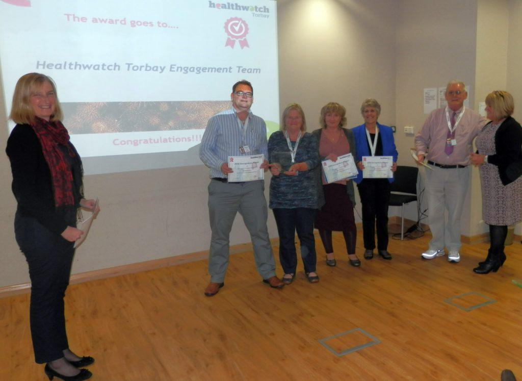 Torbay MP Dr Sarah Wollaston with volunteers David Young, Eliza Lawler, Carol Kendall, Bridget Wernham, David Hudson & Healthwatch Torbay CEO Pat Harris