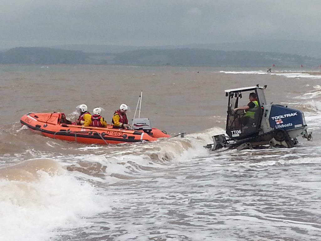 Inshore lifeboat George Bearman launching on service in June 2014. Credit Chris Sims.